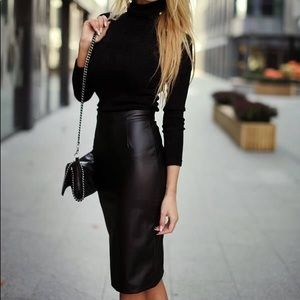 Dresses & Skirts - RESTOCKED Faux Leather ,High Waist Blk Midi Skirt